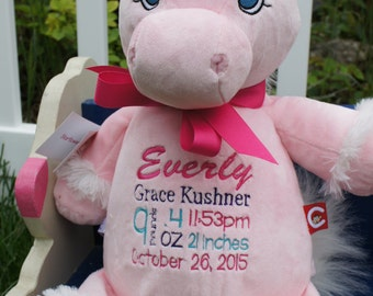 "Personalized Baby Gift, ""Baby Cubbies"" Unicorn, Birth announcement stuffed animal keepsake with machine embroidery"
