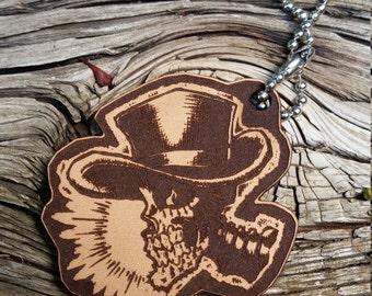 Wasteland Oddities Custom Hand Painted Leather Skeleton Cowboy Tag!