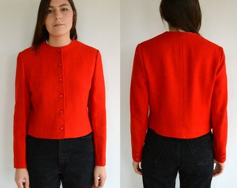 Vintage Pendleton Red Wool Button-Up Jacket // Size Small