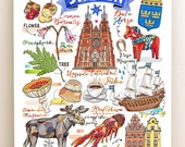 Sweden Print, National symbols, Sverige, illustration, moose, dala horse, vikings, Stockholm, fika, toadstools, Uppsala.