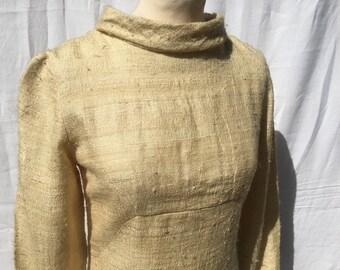 60's Vintage Cream raw silk/wool mix dress / Wedding Dress