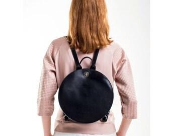 Small black backpack for women, black leather rucksack , round designer backpack FREE SHIPPING