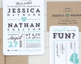Rustic Modern Wedding Invitation SAMPLE SET // Mint Wedding Invitations, Country Wedding Invitation Suite, Printed