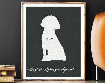 I love my dog, English Springer Spaniel, personalized dog name,  home decoration poster, digital artwork print, modern decor dog lover