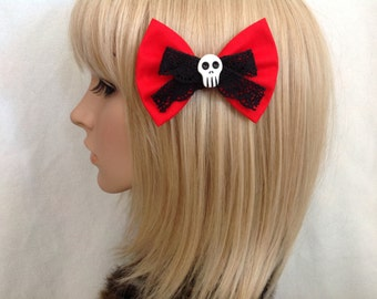 Red black lace skull hair bow clip rockabilly psychobilly gothic sugar day of the dead Lolita rock punk pin up girl cute vintage fabric