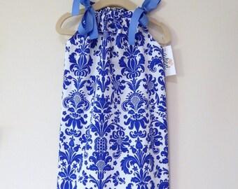 Blue Damask Girl's Summer Pillowcase Dress