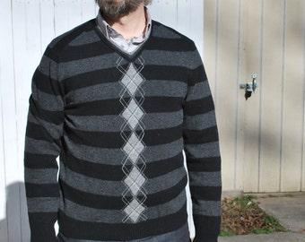 Striped/ Argyle V Neck Pullover Sweater, Merino Wool.