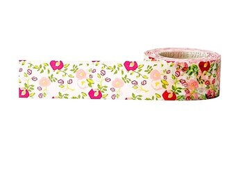 Pink Floral Wide Washi Tape - 25mm x 10m - Planners, Cards, Scrapbooks, Gift Wrap, Decoration