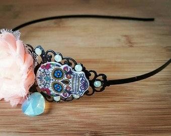 Dia de los muertos - Sugar skull headband -hair jewelry-shabby rose-crystal headband-gothic hair accessories-mint green-sugar skull headband