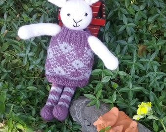 Knitted Rabbit ,Knitted Toy,Very soft, Removable frock, Machine Washable, No buttons