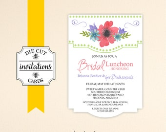 Bridal Luncheon Die Cut Invitations Bridal Shower Die Cut Printed Invitations - Bridesmaid Luncheon Invite Set of 10 with Envelopes - B5007