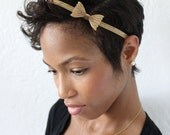 SALE! Gold or Silver metal mesh bow headband, stretch, hair accessory