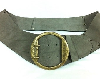 Beautiful Handcrafted Women Wide Leather Belt. Gray Leather Belt. A Gift For Her. Classic Bronze Round Buckle.Sits On The Hip.Low/High Belt.
