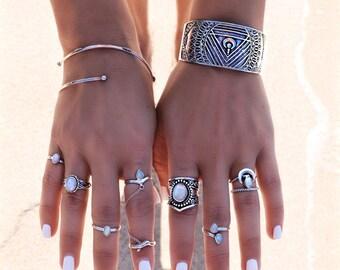 Sterling Silver Bangle Bracelet, Chakra Bracelet, Bohemian Jewelry, Cuff Bracelet, Adjustable Bracelet, Silver Cuffs, Silver Jewelry