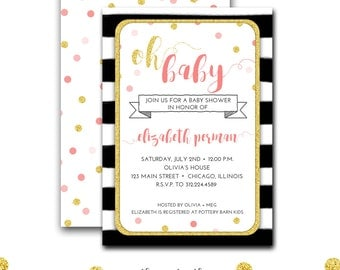 Pink and Gold Baby Shower Invitation, Black and White Baby Shower, Baby Girl, Watercolor, Stripes, Confetti, Printable  File or Printed