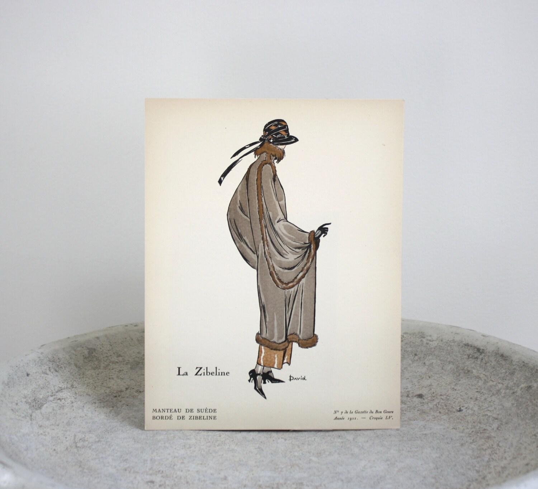 Vintage fashion pochoir print art deco gazette du bon genre for Pochoir deco