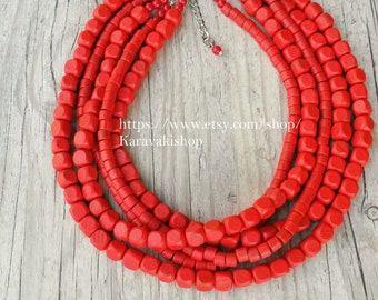 Chunky Red necklace,Bridesmaid Red necklace,Wood beaded necklace,FIVE strand statement ,Wooden necklace,Red jewelry,Multistrand necklace