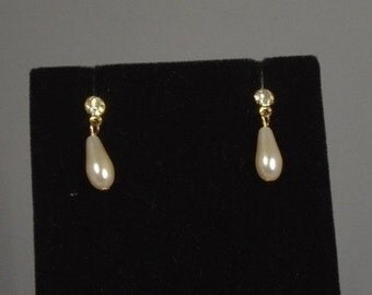 Faux Pearl and Crystal Dangle Earrings