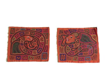 Vintage Colombia Mola Textile Set Embroidered Hand Crafted Textile Squares Pillows or Frame Art Wall Hangings Serpent Winged Snake Panama