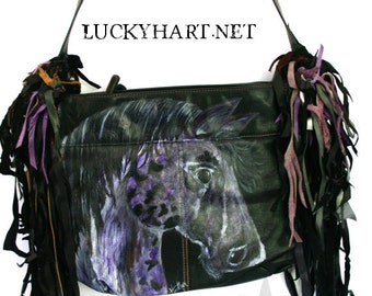 Lucky Girl Cowgirls Large Fringed Purse.  Black and Purple Horse Lovers Leather Handbag.