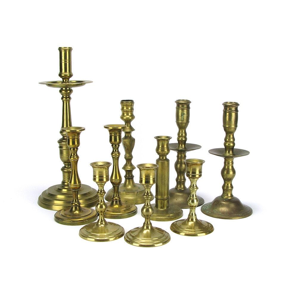 lot 10 vintage brass candlestick candleholders bulk tall. Black Bedroom Furniture Sets. Home Design Ideas