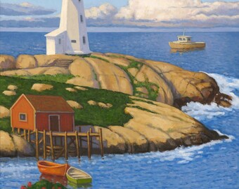 "Lighthouse at the Cove 12"" x 9"" stretched canvas print by Paul Hannon FREE SHIPPING Canada & US"