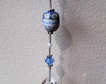 Blue Owl Crystal Sun Catcher