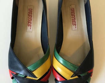 Vintage 1980's WESTIES new wave era peeptoe shoes flats low heels 6.5 BRAZIL