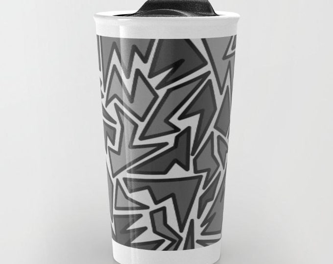 Black and Gray Travel Mug - Zig Zag Abstract Art - Coffee Travel Mug - Hot or Cold Travel Mug - 12oz Travel Mug -Made to Order
