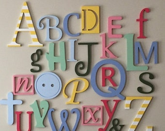 Alphabet Letters For Wall Fascinating Alphabet Set Unpainted Wooden Letters Nursery Letters Wall Decorating Design