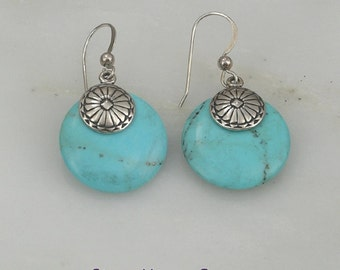 Southwest style turquoise dangle sterling silver earrings