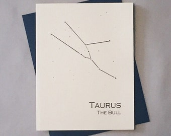 Taurus Constellation Zodiac Sign Birthday Card / Horoscope / Astrology  Astronomy Card / April - May Birthday