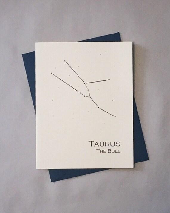 Taurus Constellation Zodiac Sign Birthday Card / Horoscope / Astrology  Astronomy Card / April - May Birthday