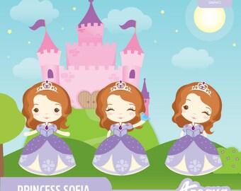 Princess Sofia Clipart Set - Instant Download - PNG Files.
