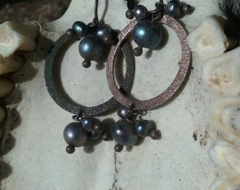 Sterling Silver and Black Pearl Bubble Hoop Earrings Sea Punk Aqua Punk Witchy
