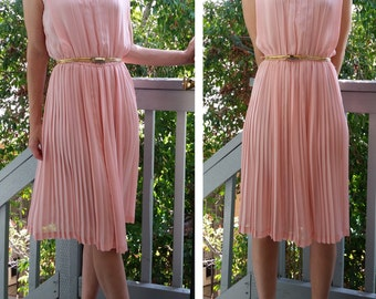 Pretty in Pale Pink Pleated Special Occasion Dress - Small