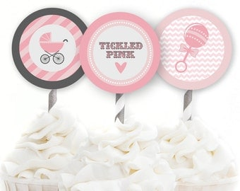 Cupcake Toppers, Tickled Pink Baby Shower, Girl Baby Shower, Rattle Shower Decor, Pink Decor, Printable Party Circles, INSTANT DOWNLOAD, #B6