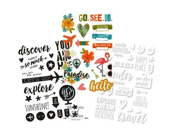 Vacation Travel Adventure - You Are Here Collection - Simple Stories - Planner Sticker Set - Scrapbooking Embellishment