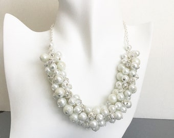Bridal Jewelry, White Pearls and Rhinestone Cluster Necklace, Chunky Necklace, Bridesmaids Necklace,Bridesmaid Gift, Rhinestones and Pearls