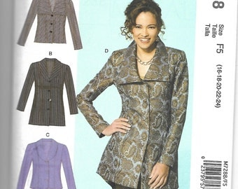 M7288 McCall's Womens Jackets Sewing Pattern Sizes 16-18-20-22-24