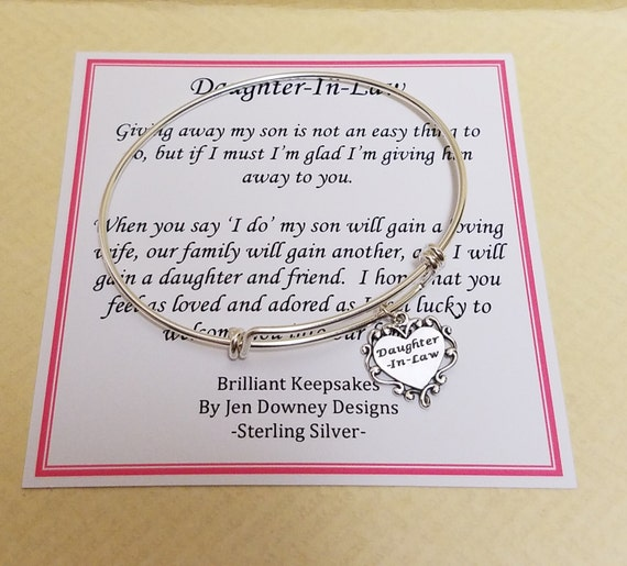 Future Daughter In Law Wedding Gift Sterling Silver Bangle Bracelet