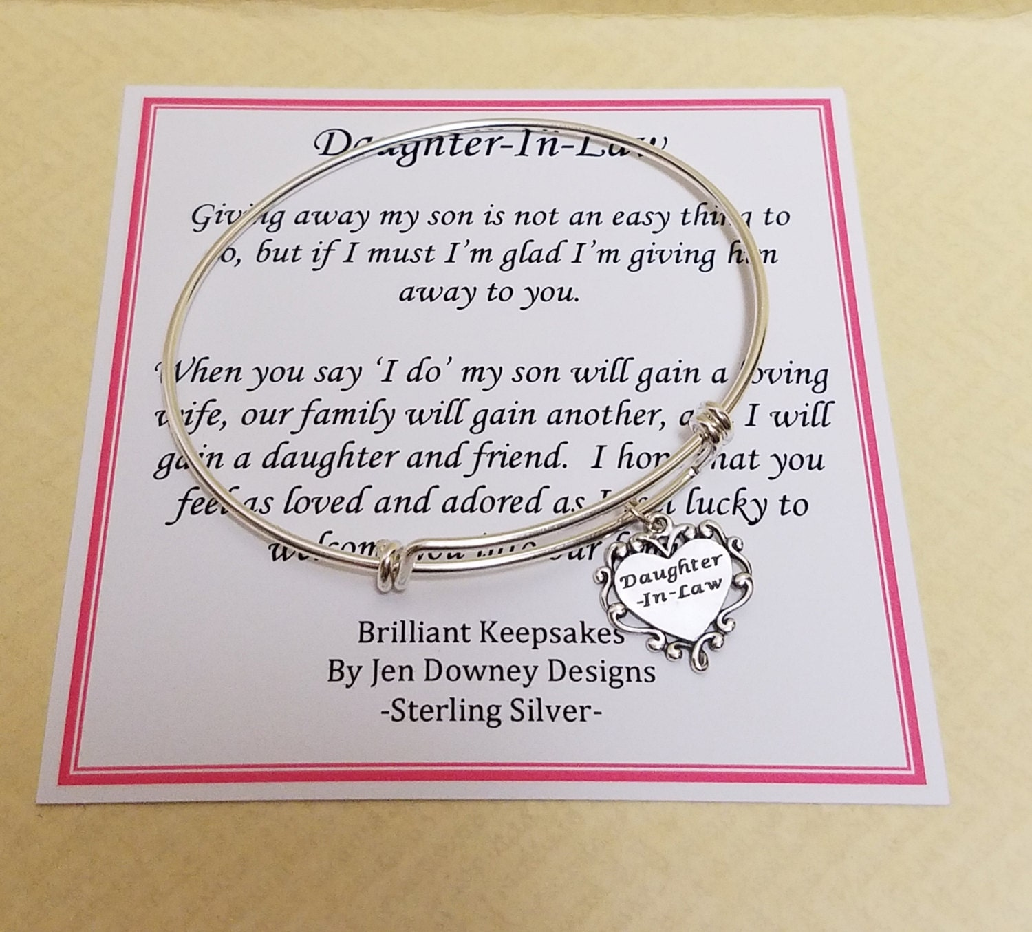 Future Daughter In Law Wedding Gift Sterling Silver Bangle