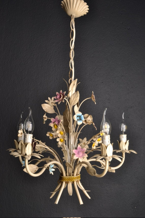 Colourful Italian tole Flower Chandelier around 1940