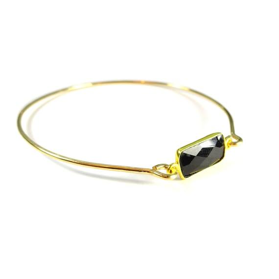 Black Gemstone Bangle, Black Onyx Gemstone, Gold Bangle Bracelet, Gold Bracelet, 14k Gold Filled Bangle, Black Bangle, Stack Bracelet
