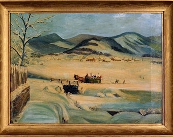 Superb ca.1910 Snowy Scene w/Sleigh & Skiers Painting Oil/Canvas w/Frame Signed