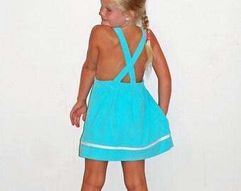 Vintage Girls Turquoise Blue Corduroy 1980s Dress Rainbow Creek Size 6X
