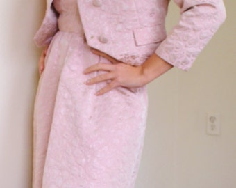 1950's Vogue 2 Piece -Pink Brocade Dress and Matching Jacket