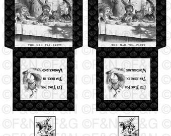 """Alice in Wonderland """"It'sTime For Tea In Wonderland"""" B&W Digital Printable Tea Bags Envelopes -  Digital Collage Sheet - Tea Bag Holder -"""