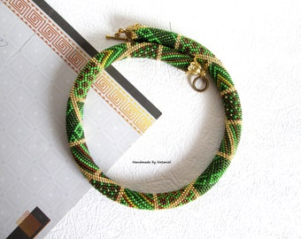 Bead Crochet Necklace Green patchwork green mustard bronze  gold dressy office for her rope beaded crochet made to order