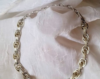 Silver Chain Necklace, Chunky Crazy Link, Lightweight Aluminum, Eloxal